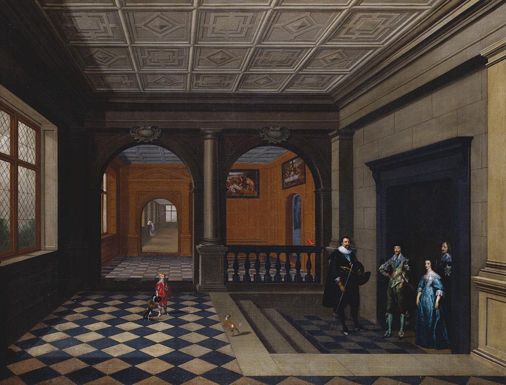 An unknown interior, with Charles and Henrietta Maria being greeted by the Earl of Pembroke. Two of Charles's key works by Titian can be seen on the back wall. Royal Collection Trust / © Her Majesty Queen Elizabeth II 2018