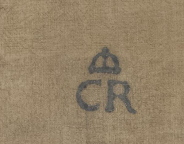Charles's 'CR' brand, from the back of a portrait of his mother, Anne of Denmark